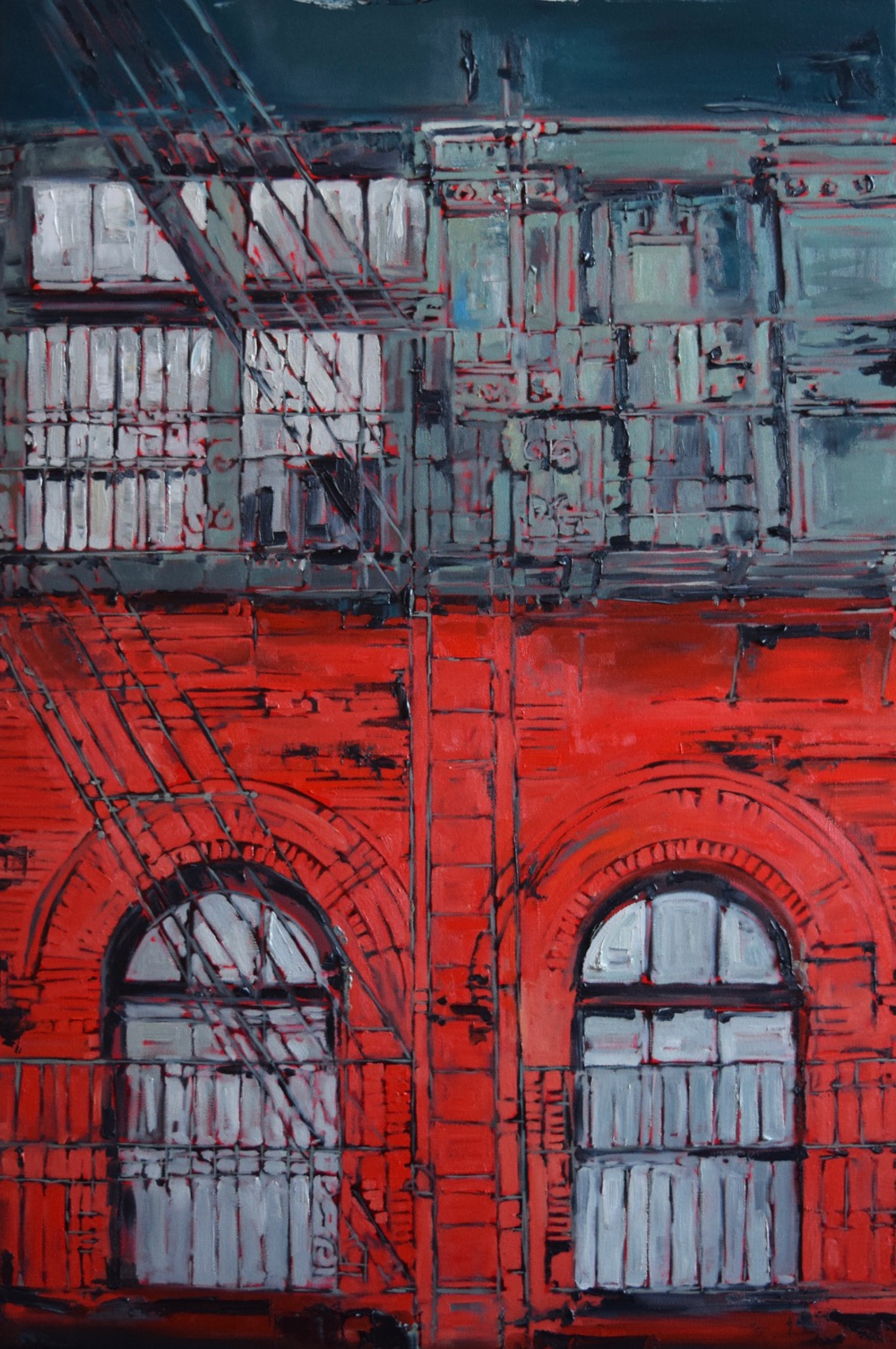 "Fire Escapes, Soho, S. Jones, oil on canvas, 36""x24"", 2016"