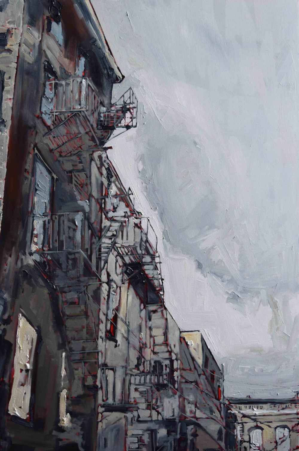 "Portland: Gold Street I ,S. Jones, oil on canvas, 36""x24"", 2016"