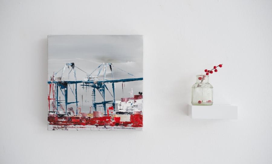 """Cranes No. 4, 9""""x9"""", $295"""