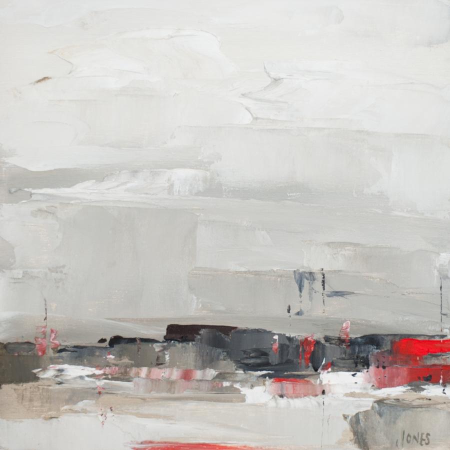 "Sarah Jones,  Our Industrial Landscape II (c)   Oil on canvas, 10""x10"", 2017"