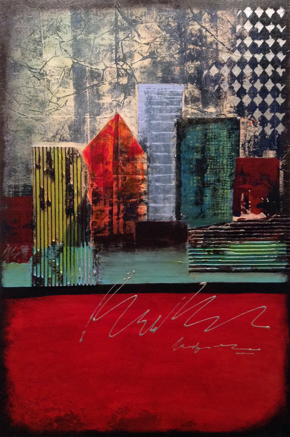 "CityScape II (24x36"" mixed media on wood)"