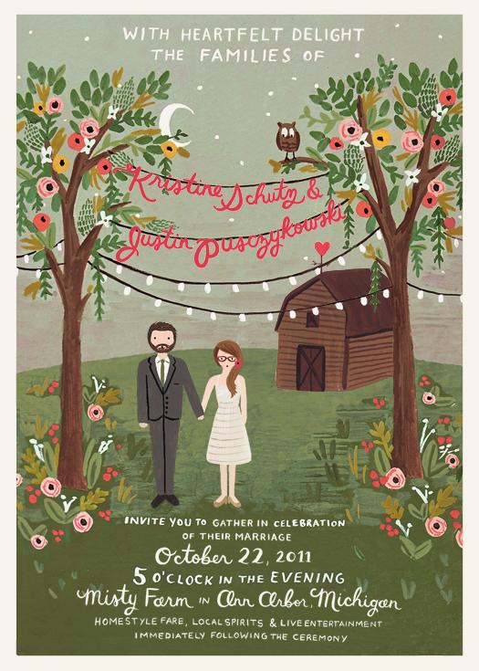 Kristine and Justins Misty Farm Wedding Invitation Alison Bryan