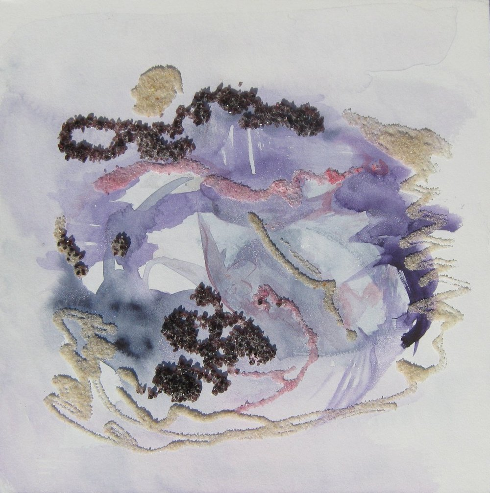 "Purple Purpose, Watercolor, Glass Frits, and Sand, 10"" X 10"" X 1.9"", 2012,"