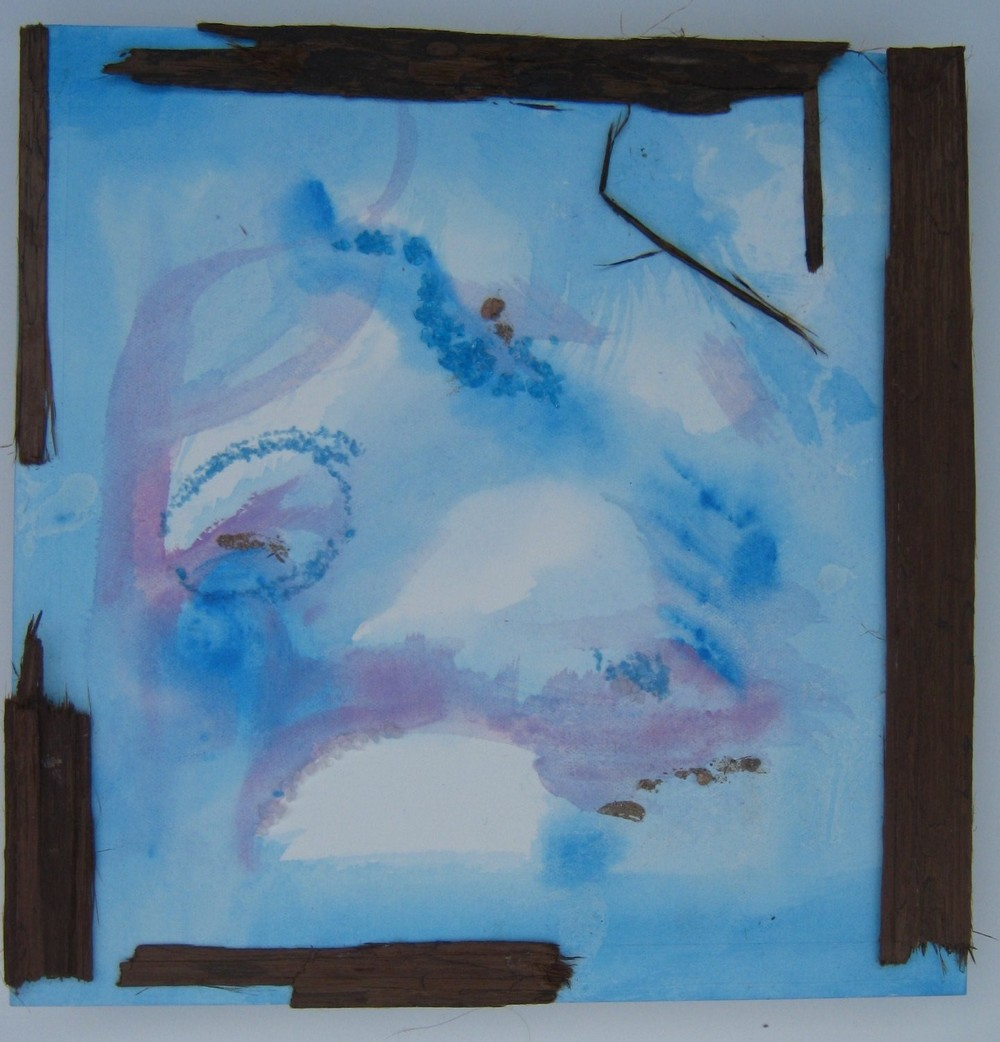 Sky and Tree, Watercolor, Glass Frits, and Red Cedar Bark, Small Work, 2012, All Right Reserved