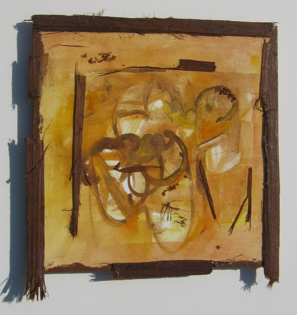 "Wonder of LIving, Watercolor, Glass Frits, and Red Cedar Bark, 9.5"" X 10"", 2012,  SOLD"