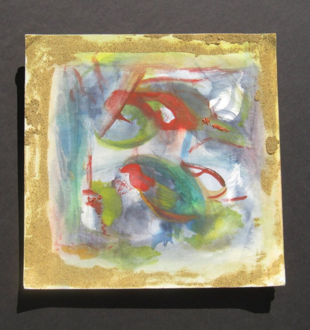 "Nature Boundaries, Mixed Media, Watercolor, and Sand, Edges Turn Upward, 10"" X 10"" X 1.9"", 2012"