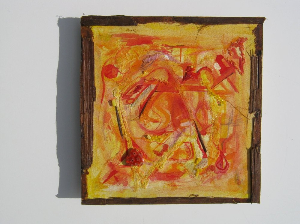 "Intelligent Heart, Watercolor, Glass Frits, Glass Heart, Red Cedar Bark, 10"" X 10"" X 1.9"", 2012"