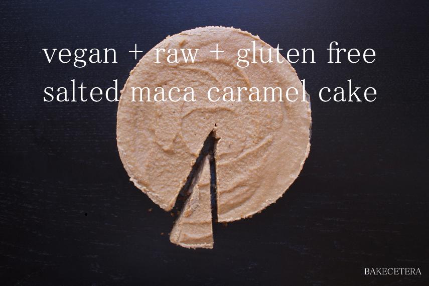 vegan maca caramel cake