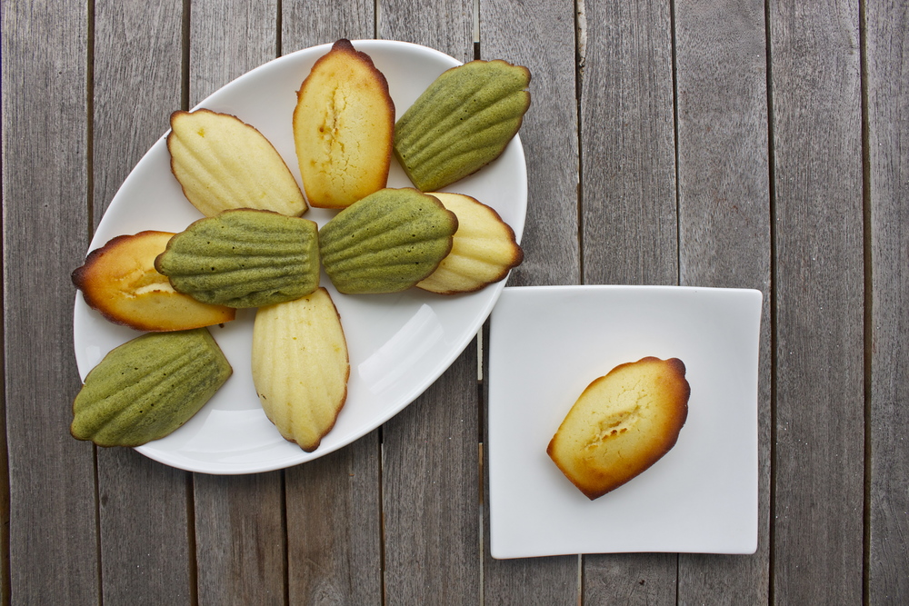 lemon and matcha green tea madeleines