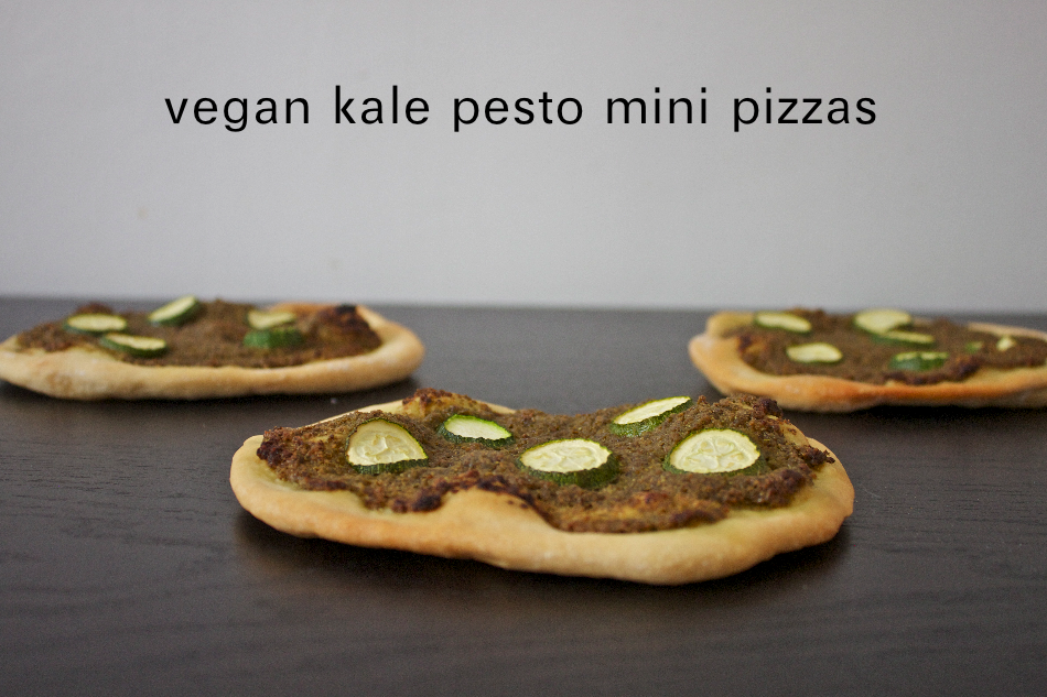 vegan kale pesto mini pizzas