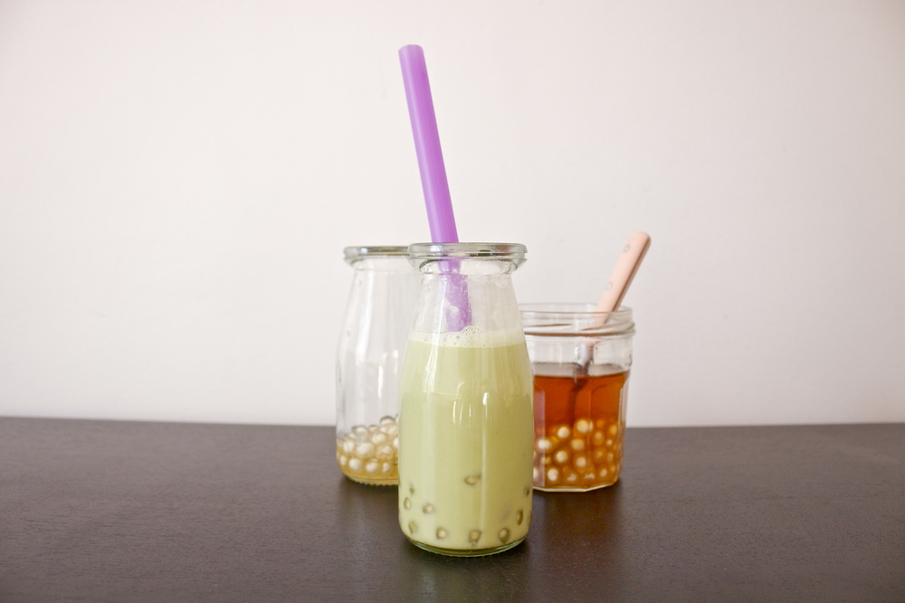 vegan double green bubble tea