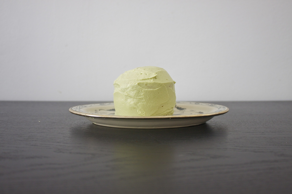 vegan lemon cake with matcha green tea frosting