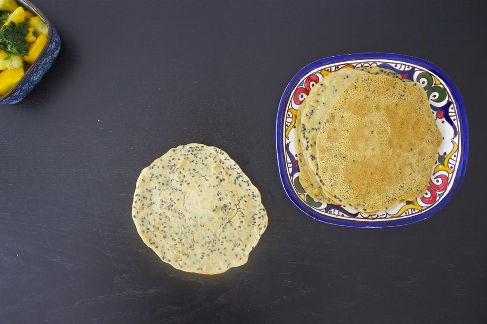 vegan socca wasabi black sesame pancakes