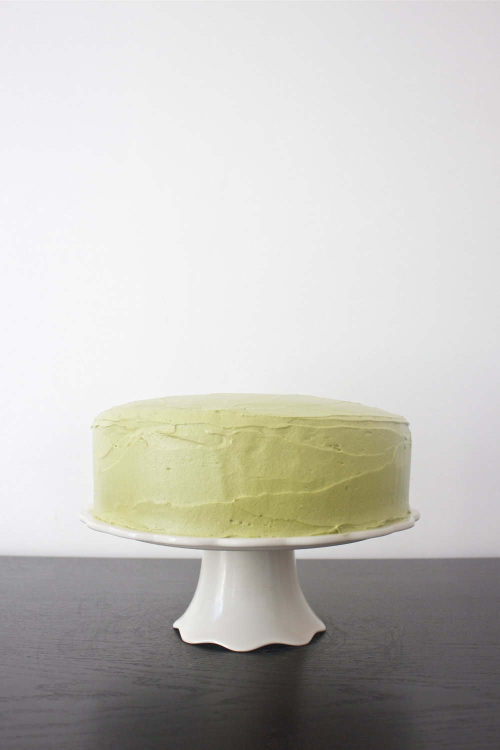 vegan chocolate adzuki bean cake with matcha green tea cream cheese frosting