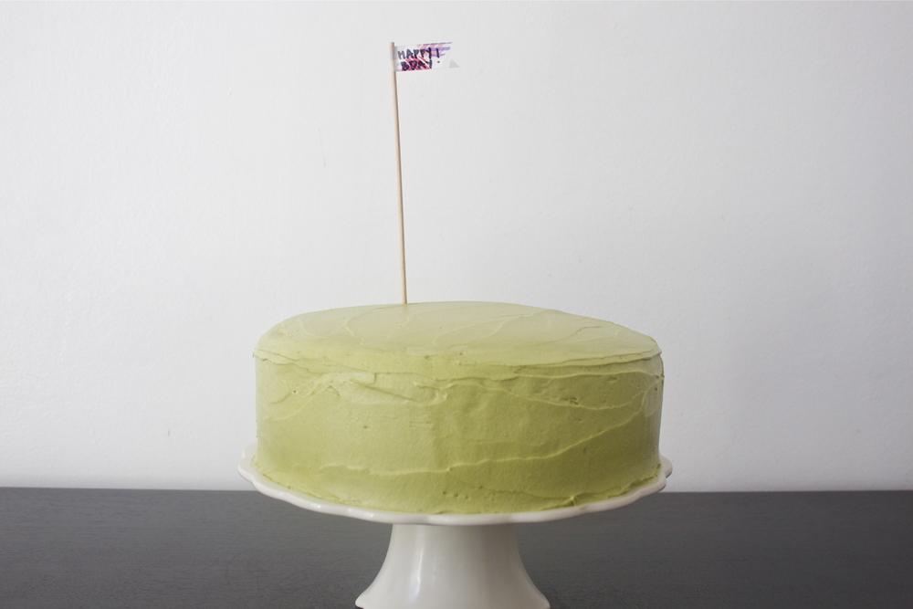 vegan chocolate adzuki bean cake with matcha green tea cream cheese frosting
