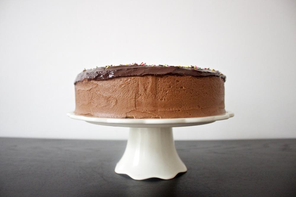 vegan coconut zucchini cake with coffee chocolate frosting