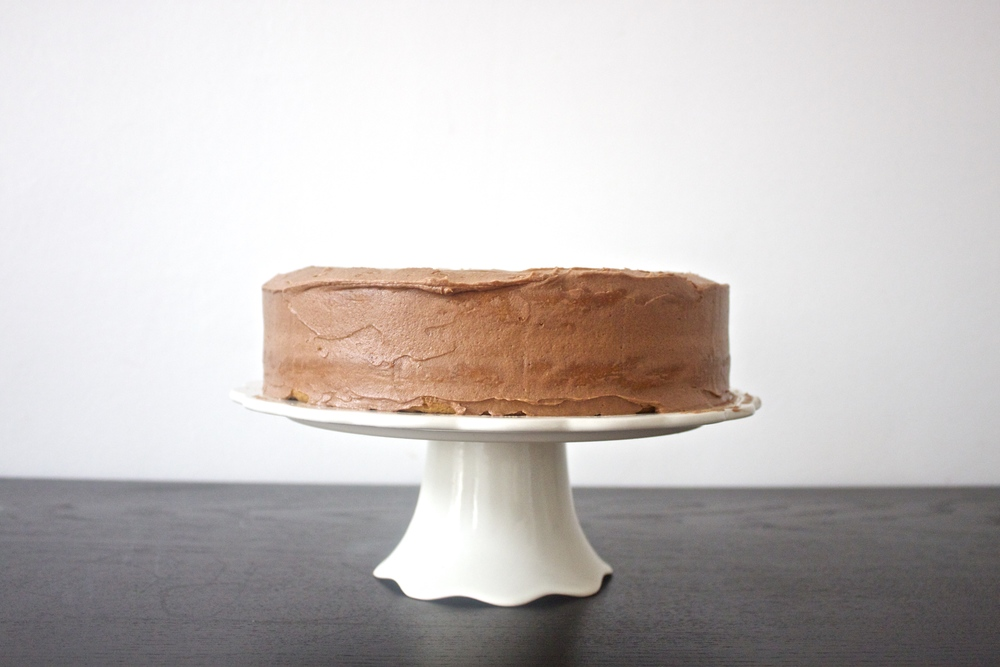 vegan coconut zucchini cake with coffee chocolate frosting