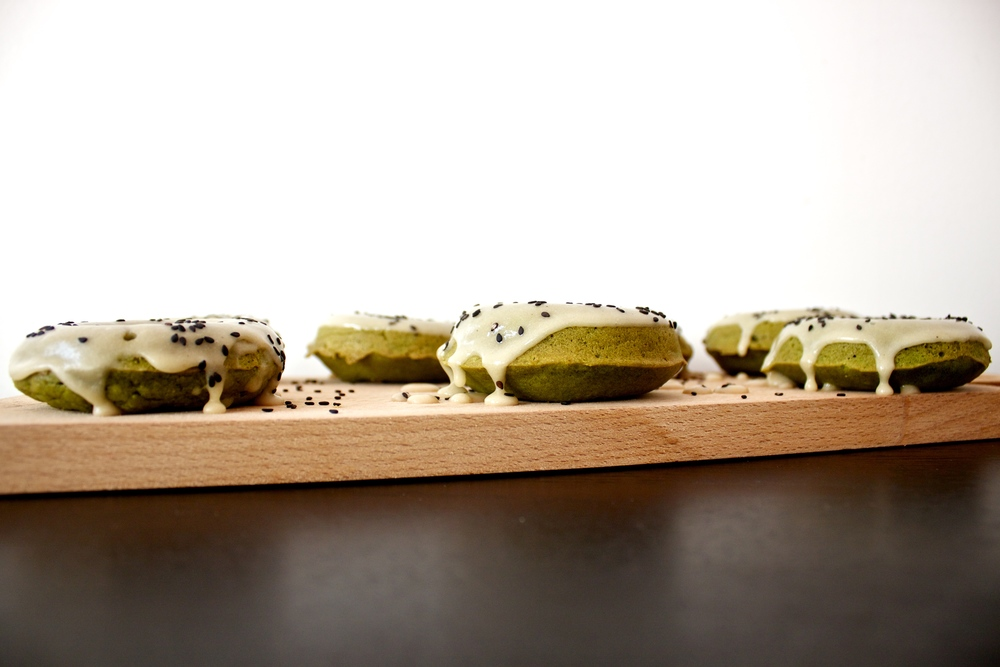 vegan matcha green doughnuts with tahini glaze