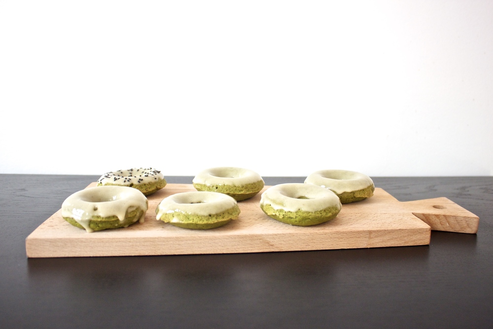 vegan matcha green tea doughnuts with tahini glaze