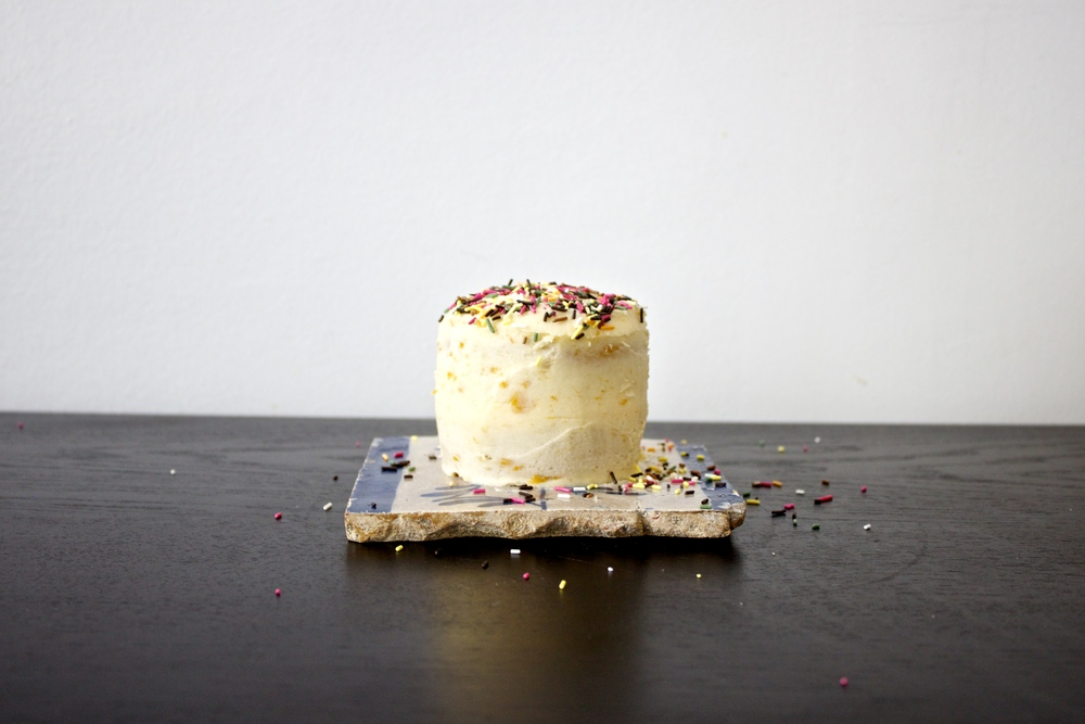 tiny vegan maple-tahini birthday cake
