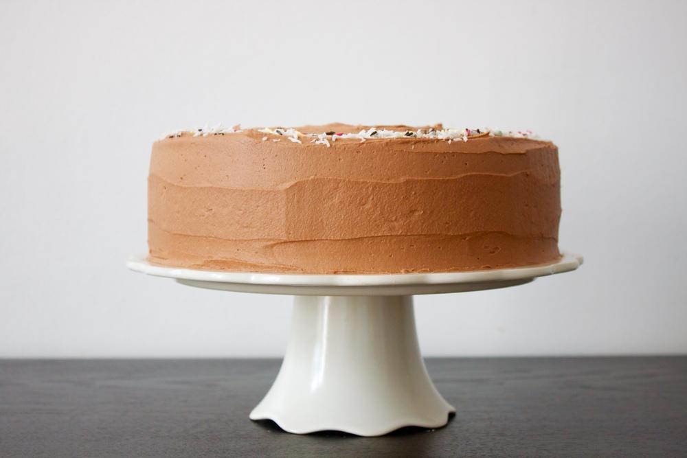 vegan double chocolate coconut birthday cake