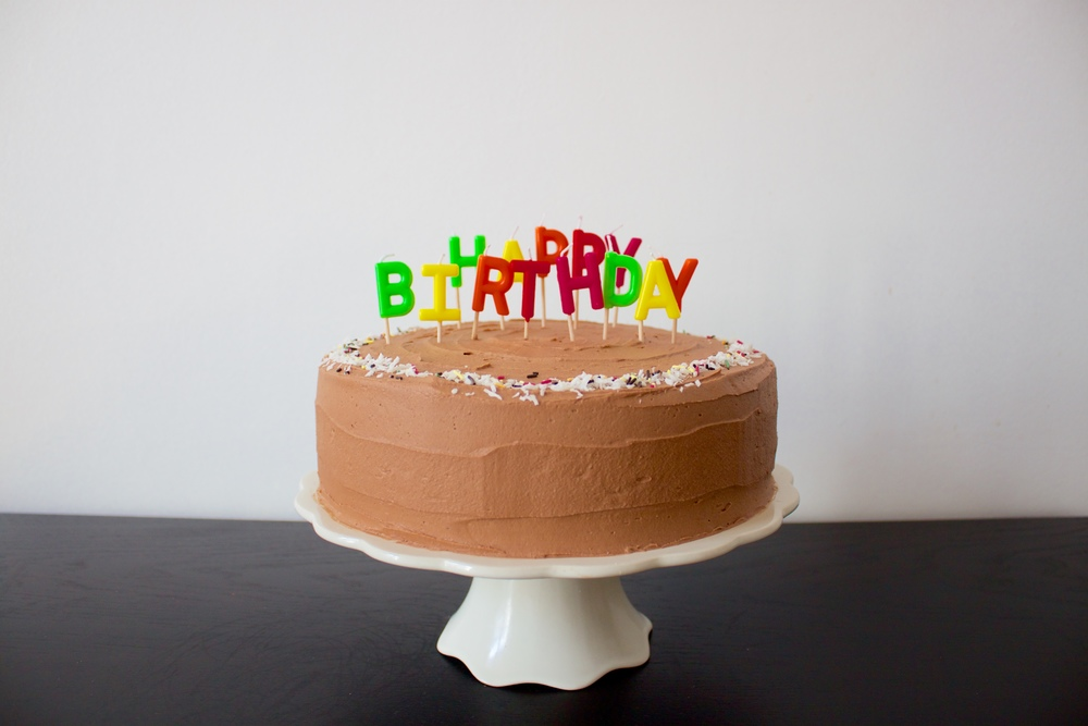 vegan double chocolate coconut birthday cake
