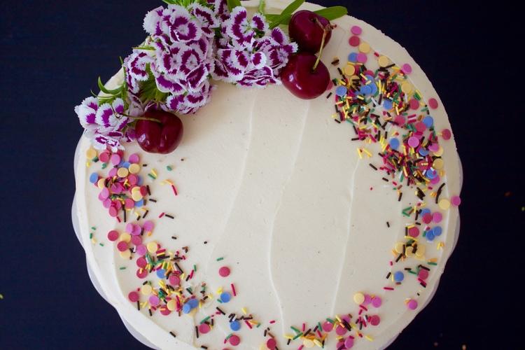 Vegan Cherry Birthday Cake With White Chocolate Frosting Bakecetera