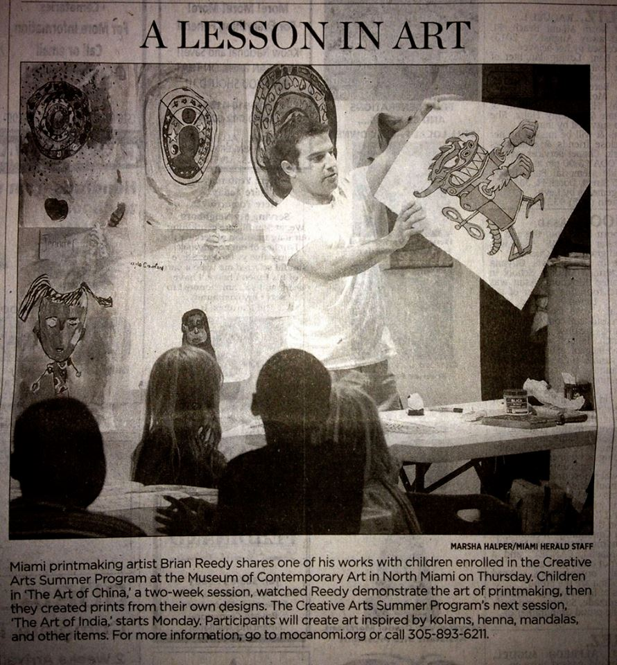 Brian in The Miami Herald teaching kids how print! Artists: don't hoard your knowledge!