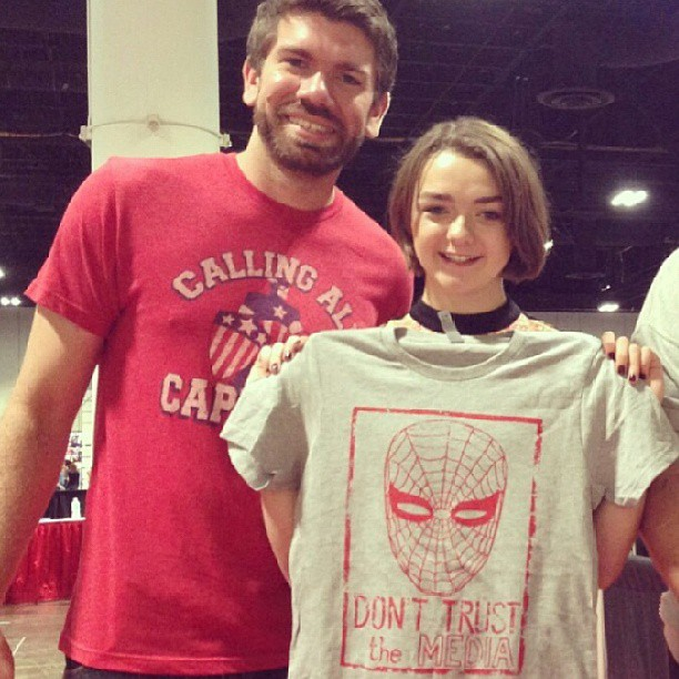 Jordan Thompson of The Fine Print Shoppe (left) and Maisie Williams of Game of Thrones (right)