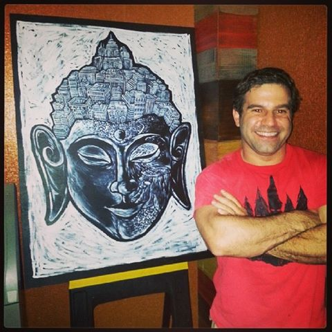 Brian in front of his Buddha (sold).