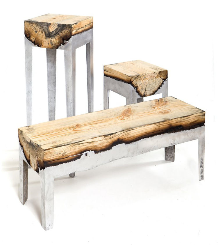 Furniture combining cast aluminium and wood… I need this for my office, wow.