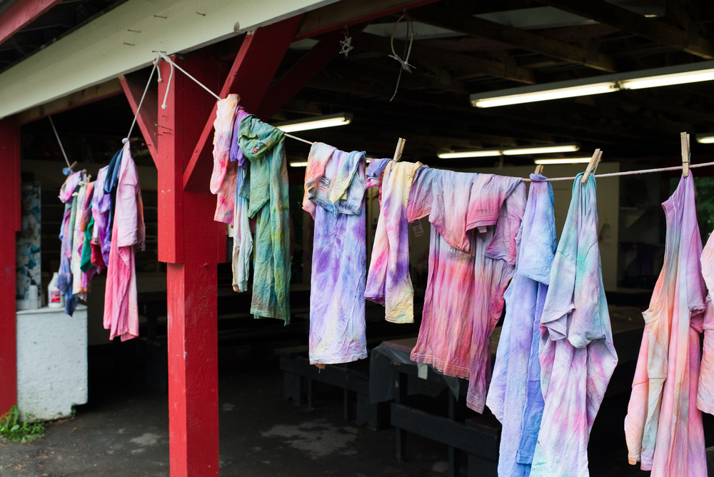 Tie dyed shirts, of course.