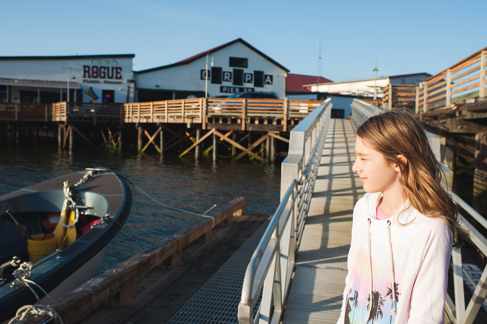Britta admiring the view in the dock in Astoria, Oregon.