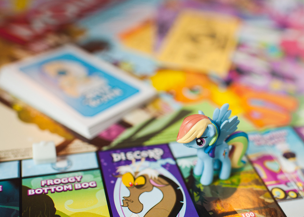It had started to rain so we played a game of My Little Pony Monopoly. Karsten was Rainbow Dash.