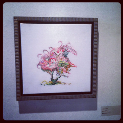 Bloom , 2012, embroidery on linen, 12 x12 inches, framed