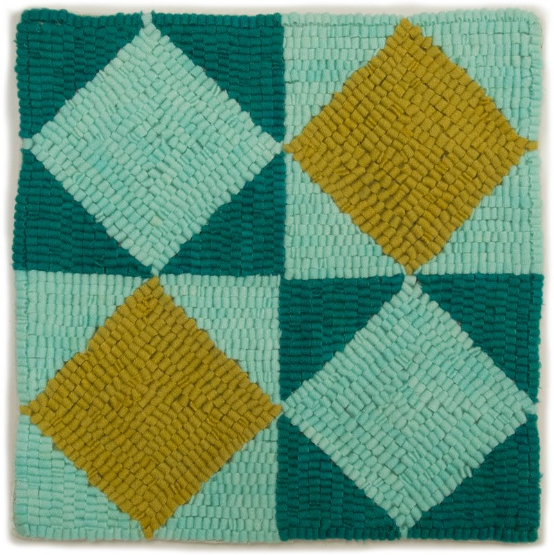 Altoon Sultan, Four Diamonds, 2013, hand dyed wool on linen, 10 x 10 inches.