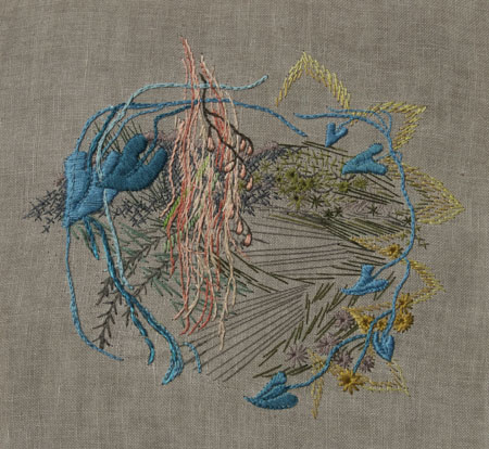 Tying Knots, 2013, embroidery on linen, 9.5 x 10.5 inches