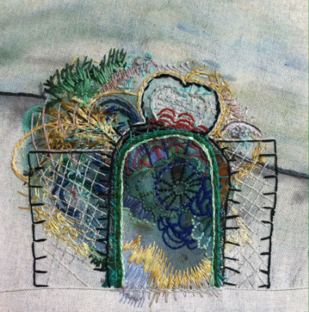 Gate, 2014, embroidery and acrylic on linen, 10 x 10 inches