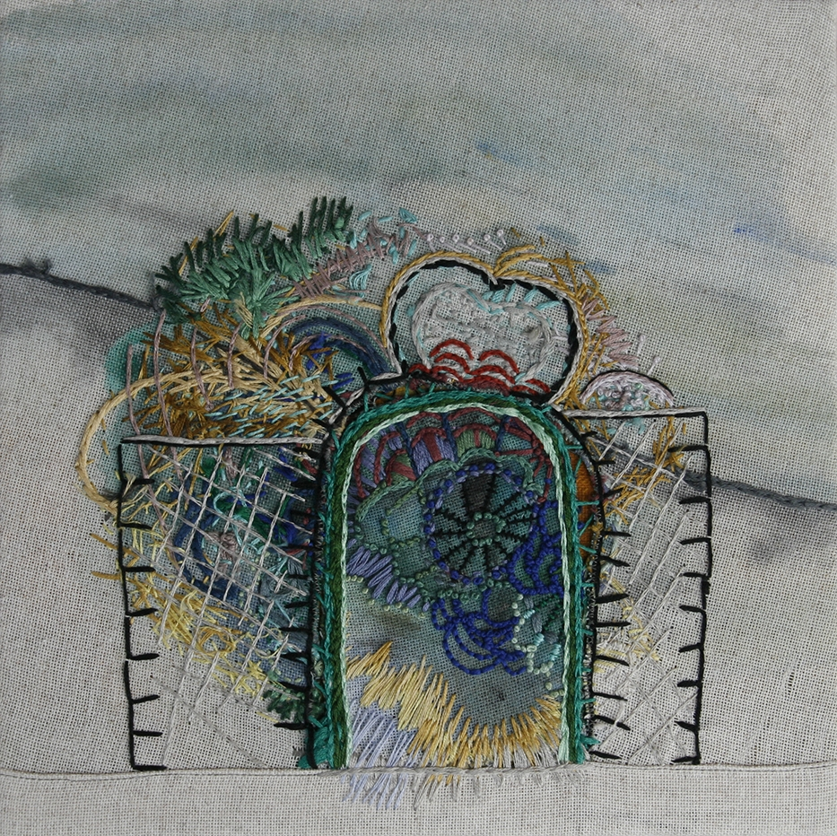 Gate, 2014, embroidery and acrylic on linen, 10 x 10 inches Gate, Awarded Juror's Honorable Mention by Jerry Saltz as part of the 57th Chautauqua Annual Exhibition of Contemporary Art.