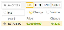 IOTA search panel in Binance.com