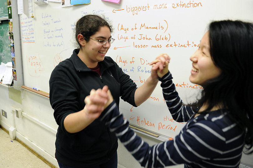 Members of the North Hollywood High Science Bowl team members Suna Zekioglu, left, and Lily Zhou joke around after school, Wednesday, January 30, 2013. (Michael Owen Baker/Staff Photographer)