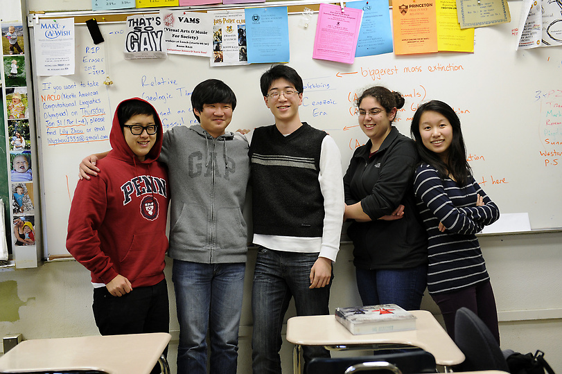 Members of the North Hollywood High Science Bowl team, from left, Woojin Park, Richard Wang, Chiyoung Kim, Suna Zekioglu and Lily Zhou. Wednesday, January 30, 2013. (Michael Owen Baker/Staff Photographer)