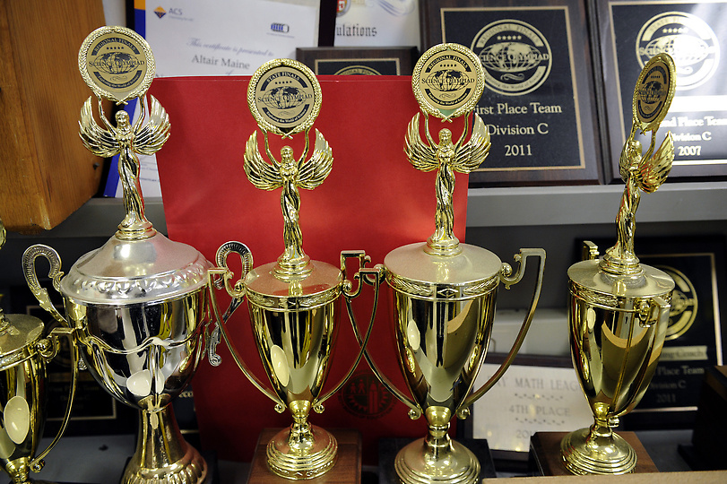 Trophies and plaques won by the North Hollywood High School Science Bowl team line a wall in the classroom of their coach Altair Maine, Wednesday, January 30, 2013. (Michael Owen Baker/Staff Photographer)