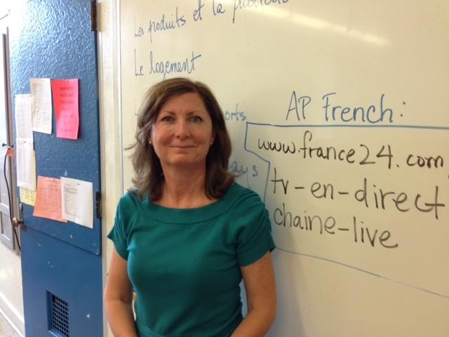 North Hollywood teacher and BD3 Tech Winner Phyllis Spadafora stands in front of her AP French Class.