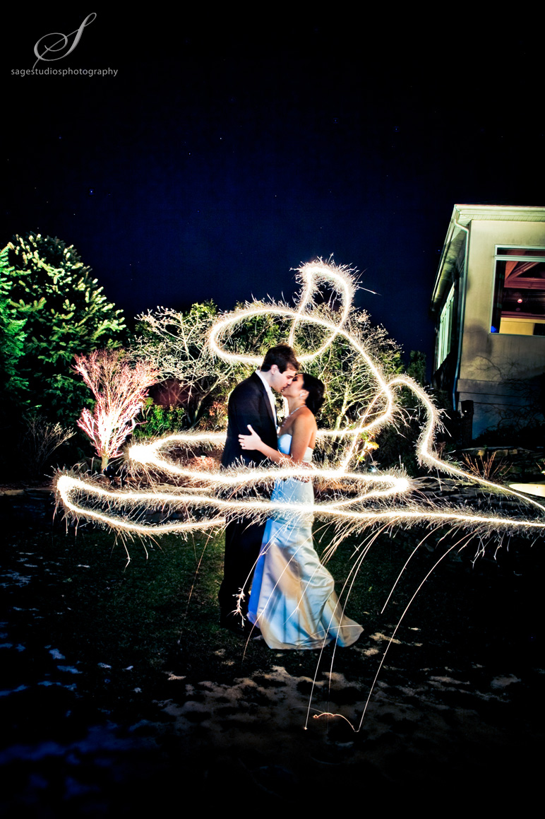 sparkler wedding photograph by westchester wedding photographer