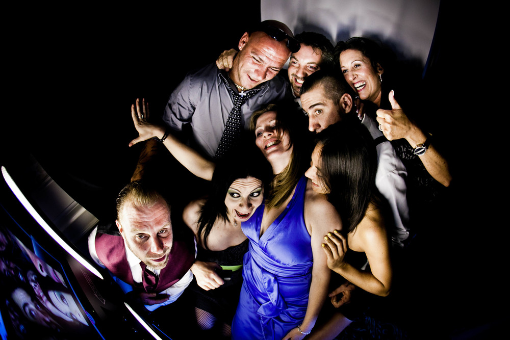 many people in photobooth photograph by westchester wedding photographer
