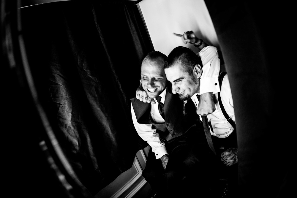 friends in photobooth photograph by westchester wedding photographer