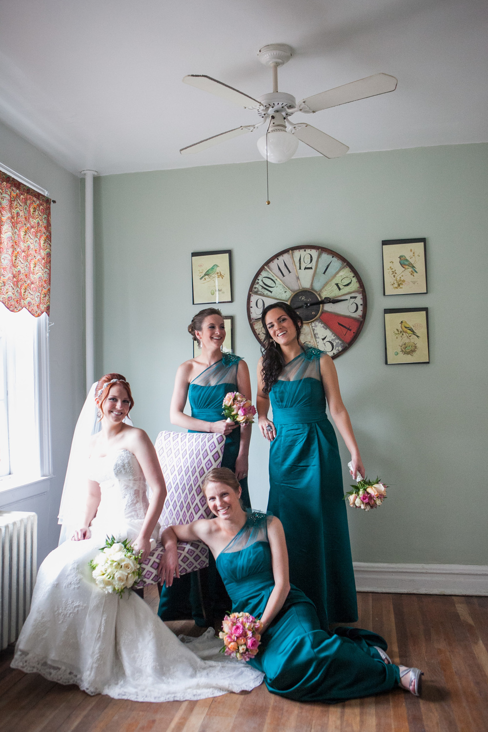 teal bridesmaid dresses by westchester wedding photographer