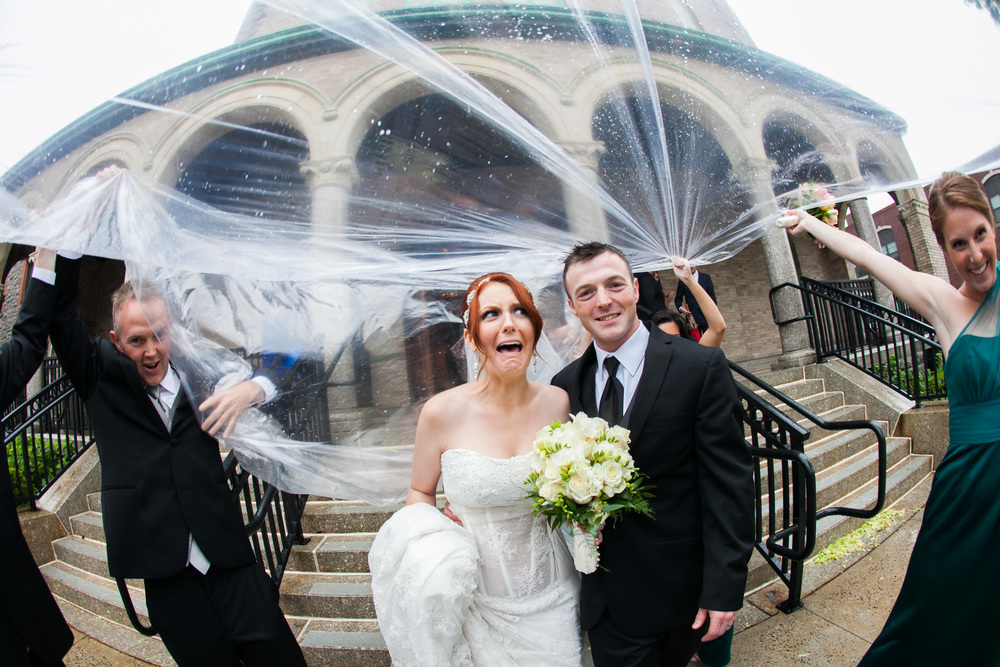 bride funny face at christ the king church by westchester wedding photographer