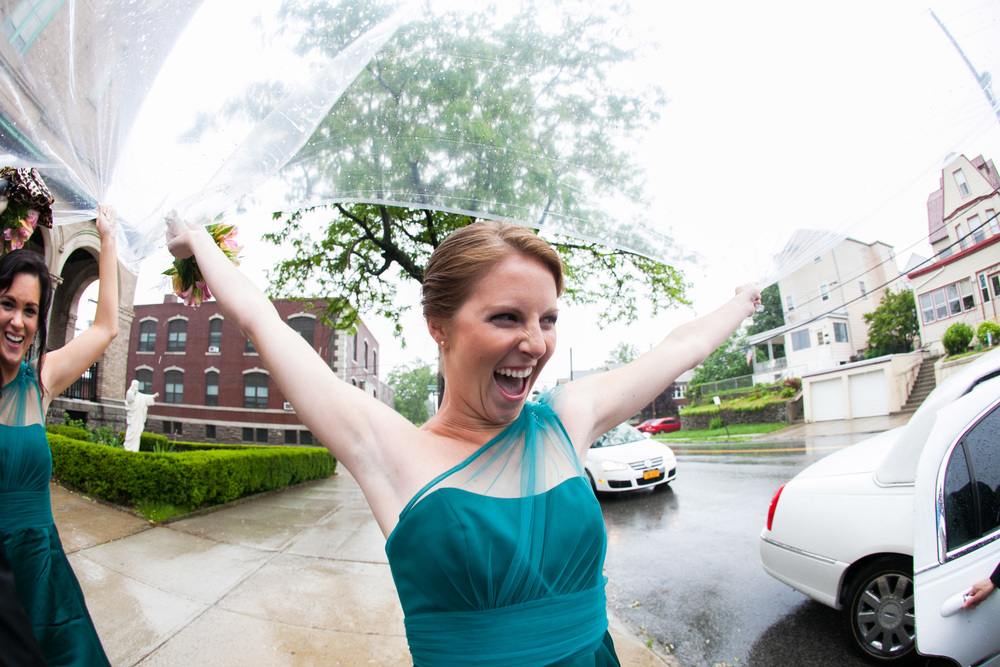 bridesmaid funny photo at christ the king church by westchester wedding photographer